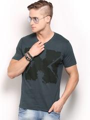 HRX Men Grey Printed Active T-shirt