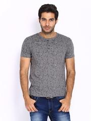 HRX Men Grey Printed Henley T-shirt