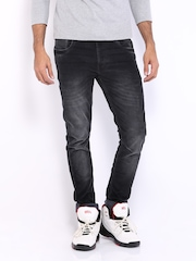 HRX Men Black Skinny Fit Washed Corduroy Jeans