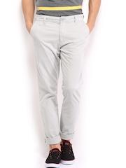 HRX Men Light Grey Basic Chino Trousers