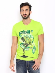 HRX Men Lime Green Printed Slim Fit T-shirt