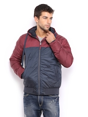 HRX Men Maroon & Navy Active Hooded Padded Jacket