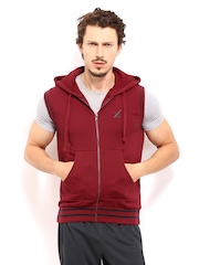 HRX Men Maroon Active Hooded Sleeveless Sweatshirt