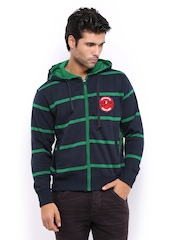 HRX Men Navy & Green Striped Hooded Sweatshirt