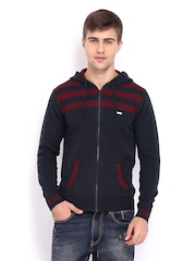 HRX Men Navy & Red Striped Hooded Sweater