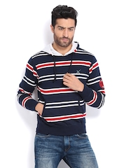 HRX Men Navy Striped Hooded Sweatshirt