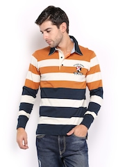 HRX Men Off-White & Orange Striped Slim Fit Polo T-shirt