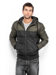 HRX Men Olive Green & Black Active Hooded Padded Jacket