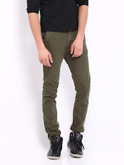 HRX Men Olive Green Overdyed Trousers