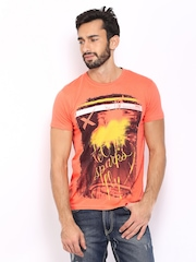 HRX Men Peach Coloured Printed T-shirt