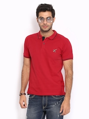HRX Men Red Slim Fit Polo T-shirt