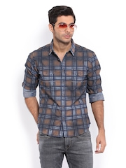 HRX Men Brown & Blue Checked Casual Shirt
