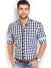 HRX Men Navy & White Checked Casual Shirt
