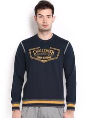 HRX Men Sports Active Navy Printed Lounge Sweatshirt