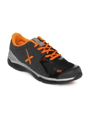 HRX Men Charcoal Grey & Black Sports Shoes