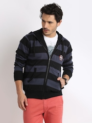 HRX Men Blue & Black Striped Hooded Sweatshirt