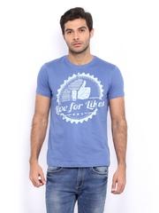 myntra Men Blue Printed T-shirt