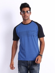 HRX Men Blue Printed T-shirt