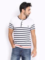 HRX Men White Striped T-shirt