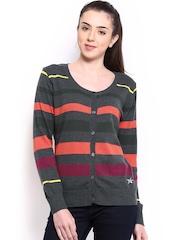 HRX Women Charcoal Grey Striped Cardigan