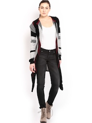 HRX Women Grey & Black Striped Woollen Hooded Cardigan