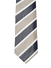 Hakashi Greyish Blue & Beige Striped Tie