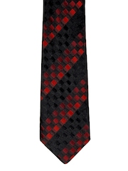 Hakashi Men Black & Red Checked Tie