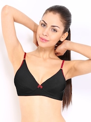 Hanes Cotton Comfort Black Modern Fit Full Coverage Bra G700
