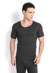 Hanes Men Grey Melange Thermal T-shirt