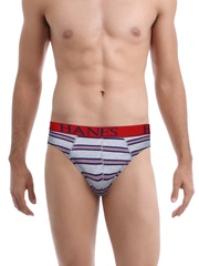 Hanes Men Grey Striped Bold Briefs F606