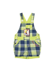 Happy Face Boys Green & Blue Checked Dungarees