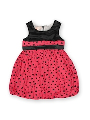 Happy Face Girls Black & Coral Pink Printed Balloon Dress