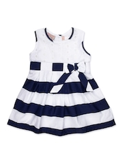 Happy Face Girls Navy & White Striped Fit & Flare Dress