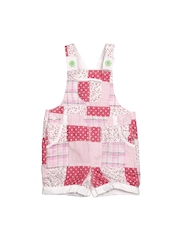 Happy Face Girls White & Pink Printed Dungarees