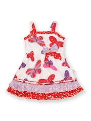 Happy Face Girls White & Red Butterfly Printed Fit & Flare Dress