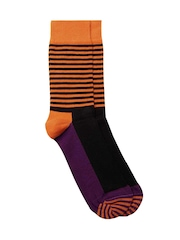 Happy Socks Unisex Black & Orange Striped Socks