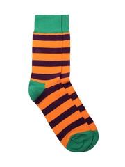 Happy Socks Unisex Orange & Purple Striped Socks