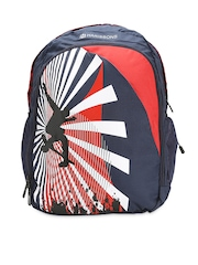 Harissons Unisex Navy & Red Printed Backpack