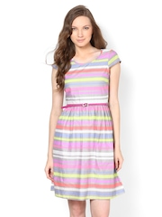 Harpa Multi-Coloured Striped Fit and Flare Dress