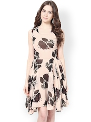 Harpa Peach-Coloured & Brown Printed Fit & Flare Dress