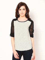 Harpa Women Cream Coloured & Black Printed Top