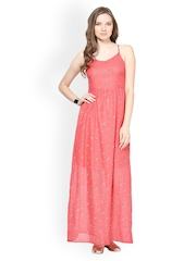 Harpa Coral Pink Printed Maxi Dress