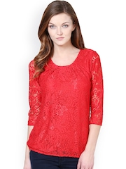 Harpa Women Red Lace Top