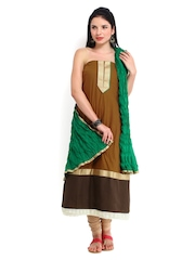 Brown Cotton & Green Semi-Stitched Dress Material Harra