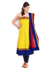 Yellow & Red Cotton Embroidered Semi-Stitched Anarkali Dress Material Harra