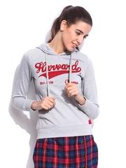 Women Grey Melange Slim Fit Souvenir Printed Hooded Sweatshirt Harvard