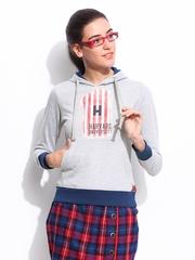 Women Grey Melange Slim Fit Daytrip Printed Hooded Sweatshirt Harvard