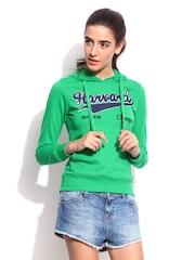 Women Green Slim Fit Souvenir Printed Hooded Sweatshirt Harvard