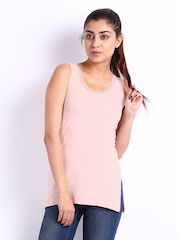Heart 2 Heart Women Baby Pink Thermal Tank Top