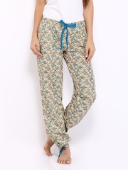 Heart 2 Heart Women Teal Blue & Yellow Floral Print Lounge Pants PJ 107